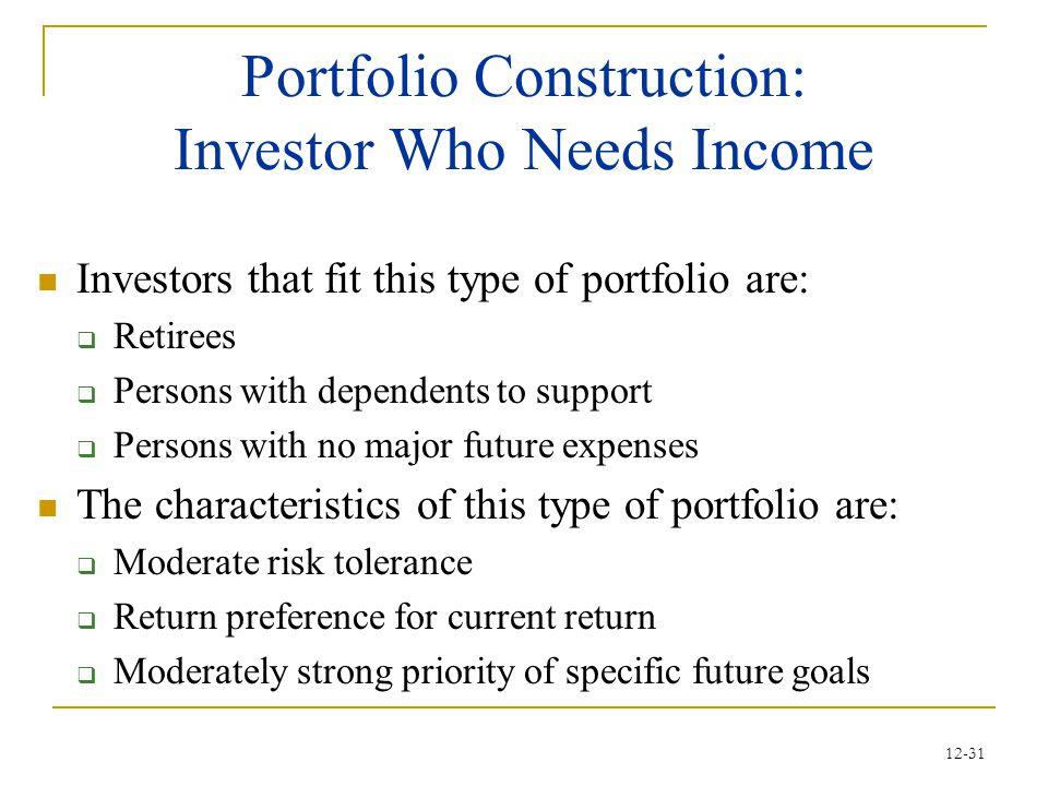 Portfolio Construction: Investor Who Needs Income