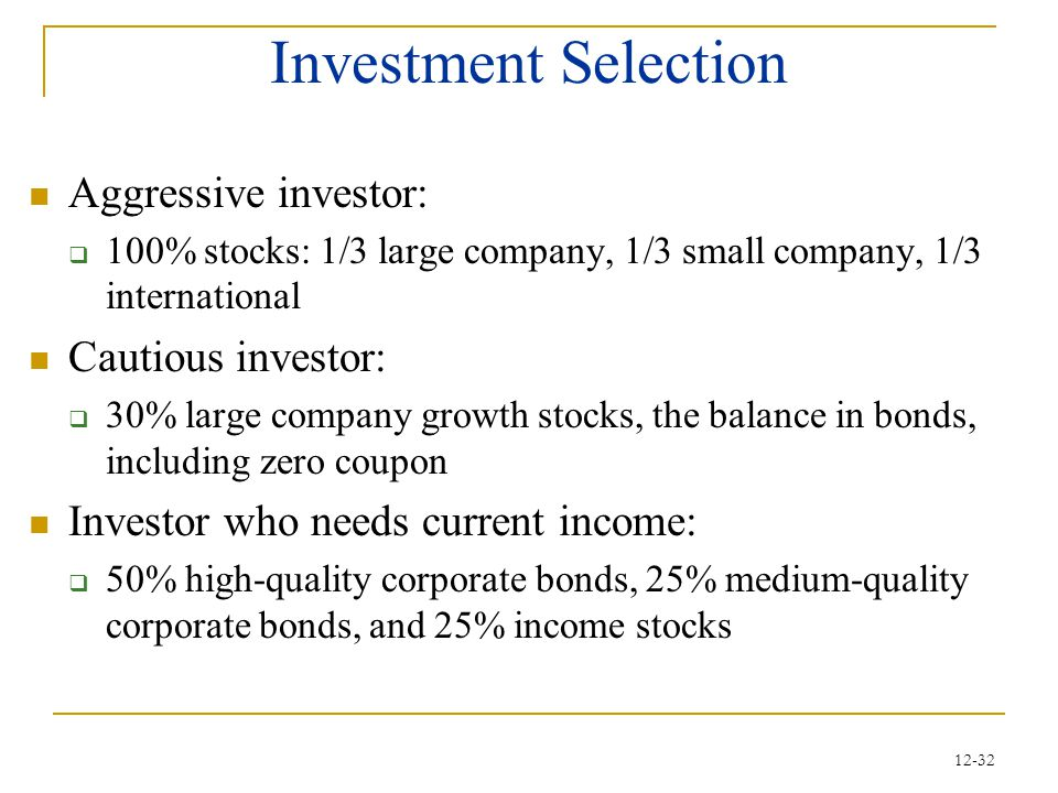 Investment Selection Aggressive investor: Cautious investor:
