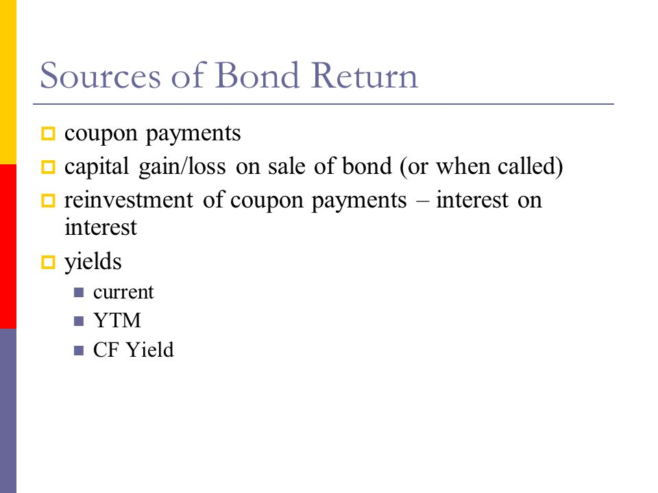 Sources of Bond Return coupon payments