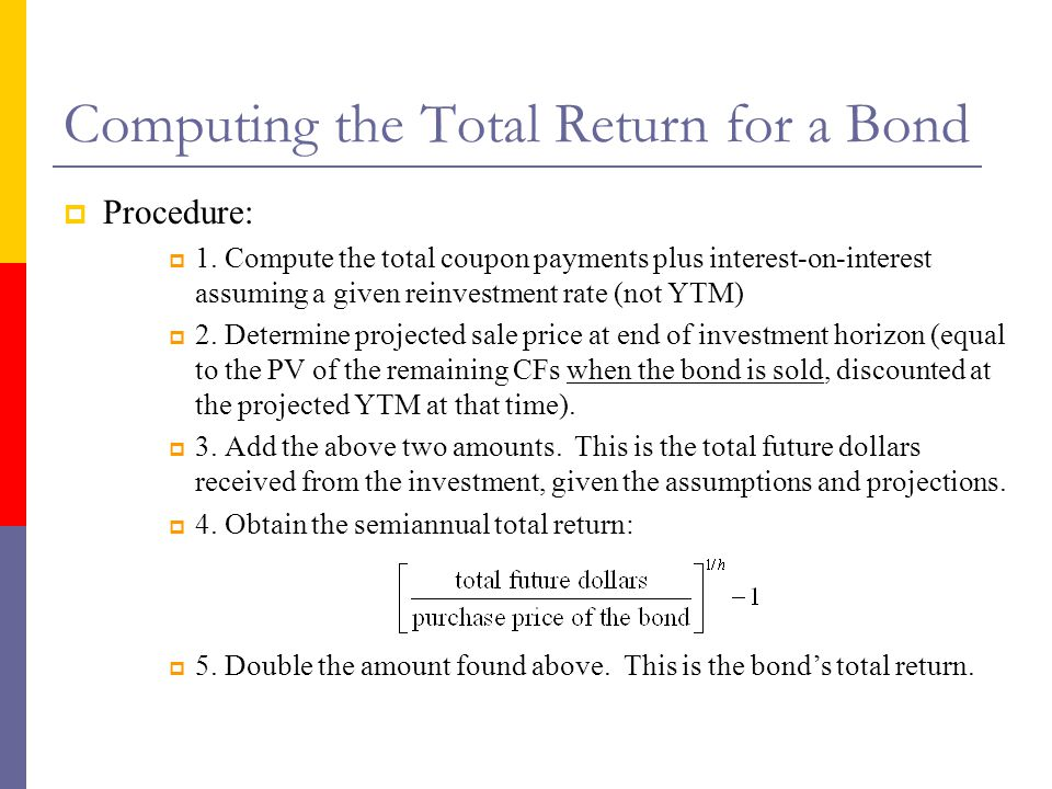 Computing the Total Return for a Bond