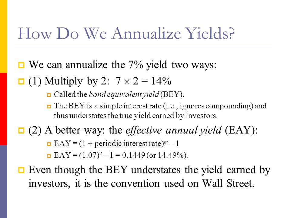How Do We Annualize Yields