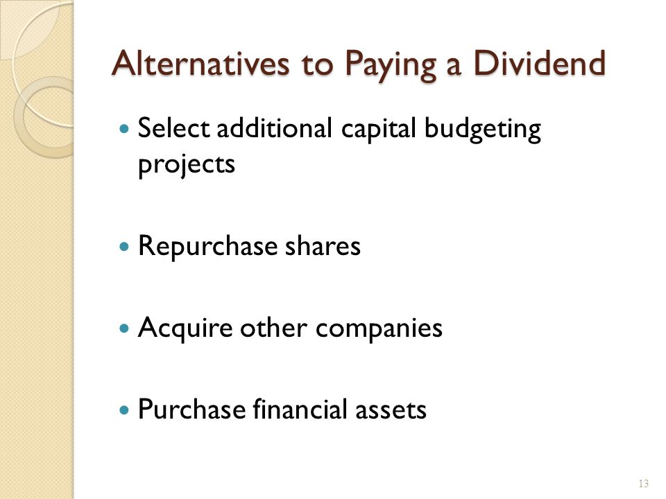 Dividends and Signals Changes in dividends convey information.
