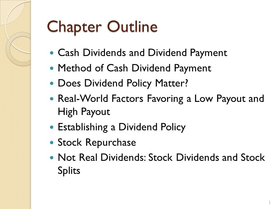 Cash Dividends Regular cash dividend – cash payments made directly to stockholders, usually each quarter.