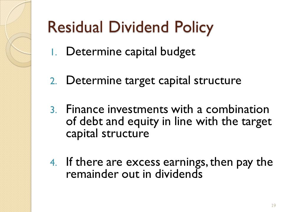 Residual Dividend Policy, example