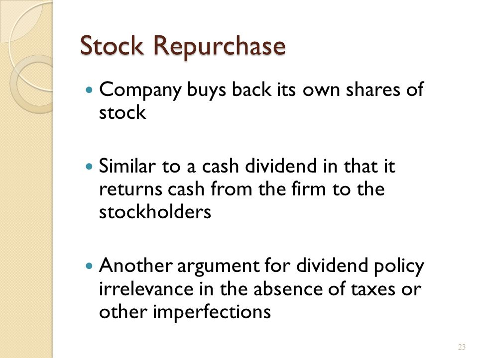 Repurchase methods Buy in the open market