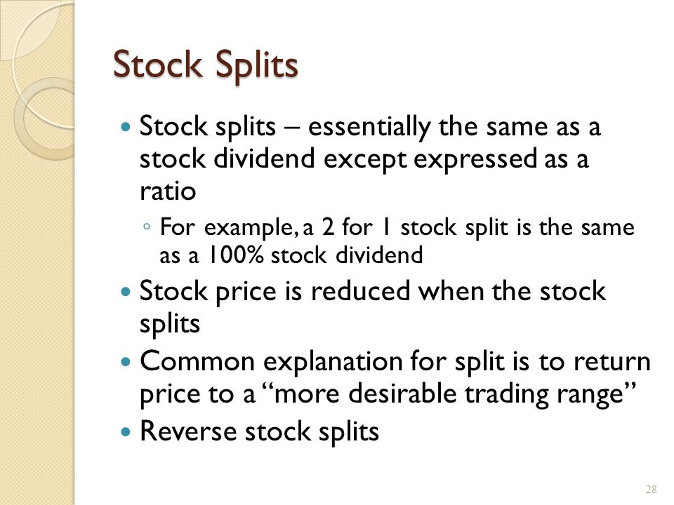 Effect of a six-for-five stock split