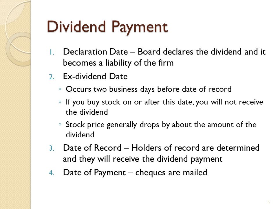 Dividend Payment Chronology