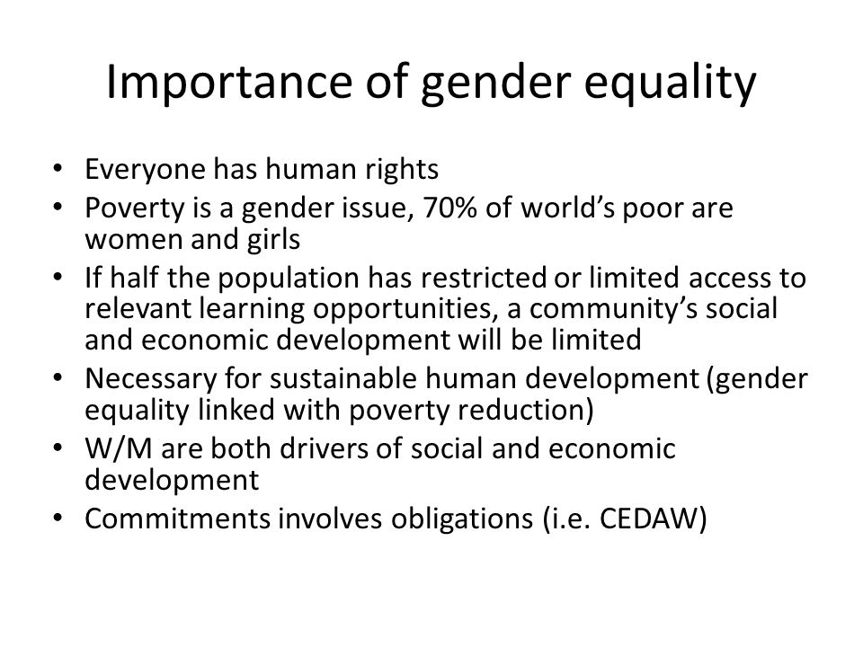 Importance of gender equality