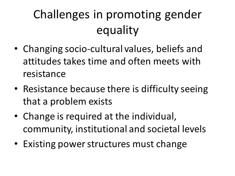 Challenges in promoting gender equality