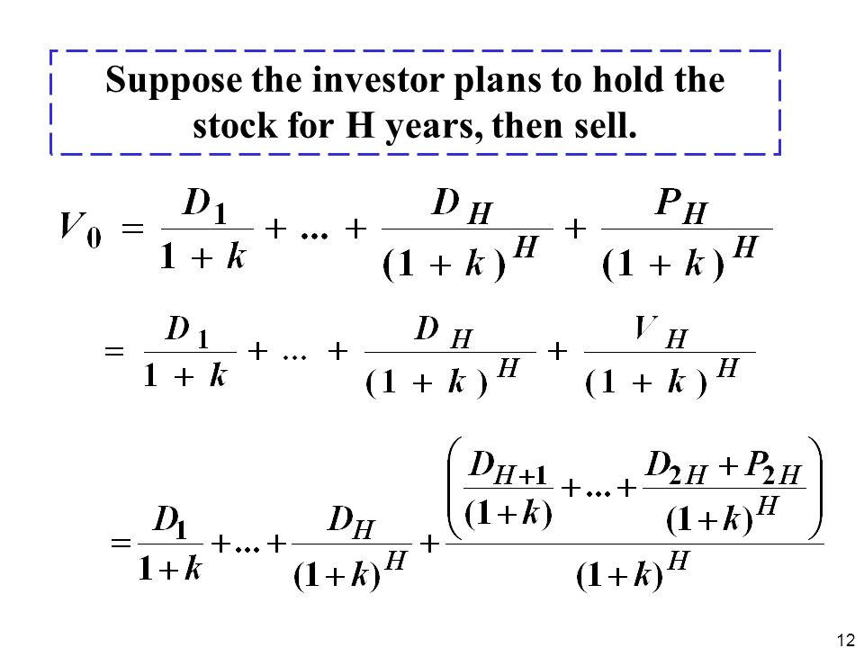 Suppose the investor plans to hold the stock for H years, then sell.