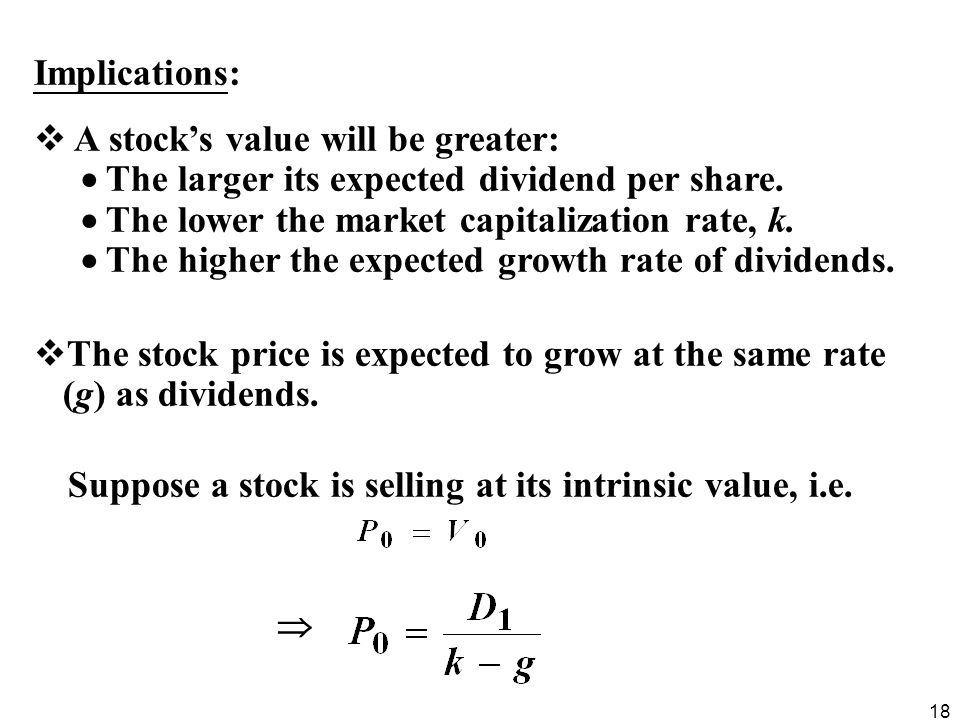Suppose a stock is selling at its intrinsic value, i.e.