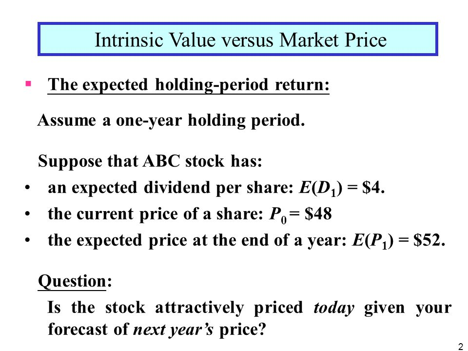 Intrinsic Value versus Market Price