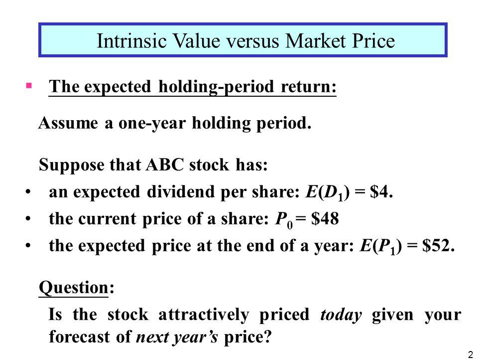 Intrinsic Value versus Market Price