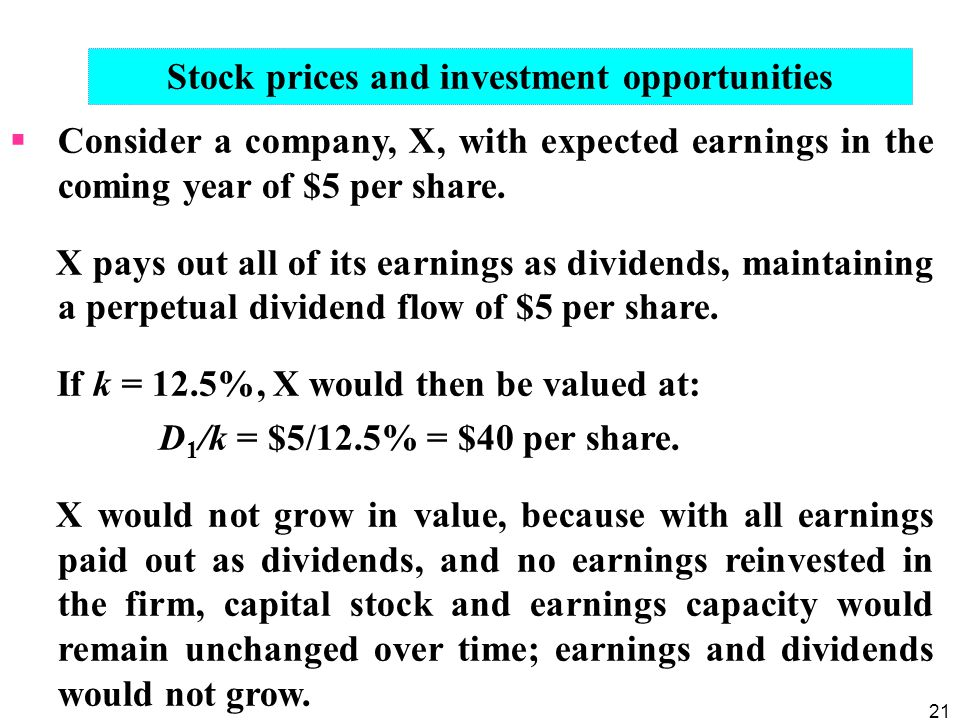 Stock prices and investment opportunities