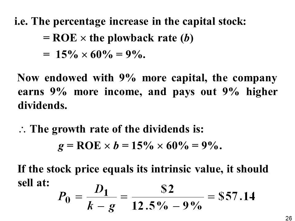 i.e. The percentage increase in the capital stock: