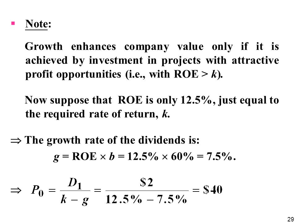 Note: Growth enhances company value only if it is achieved by investment in projects with attractive profit opportunities (i.e., with ROE > k).