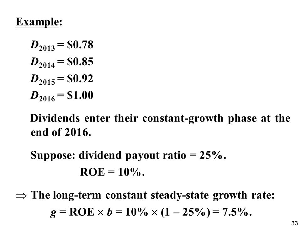 Example: D2013 = $0.78. D2014 = $0.85. D2015 = $0.92. D2016 = $1.00. Dividends enter their constant-growth phase at the end of 2016.