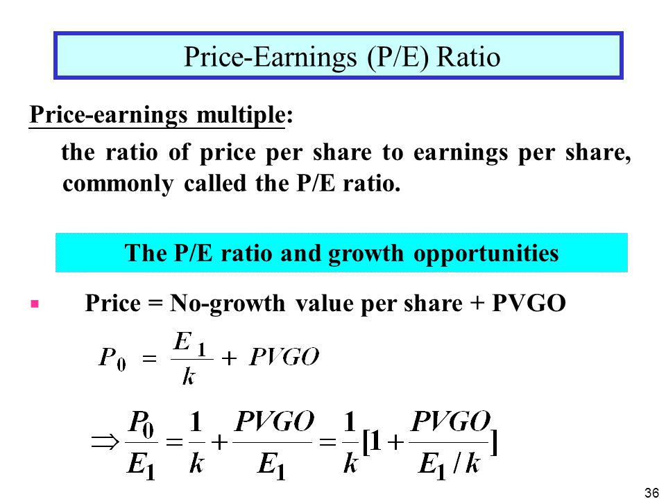 The P/E ratio and growth opportunities