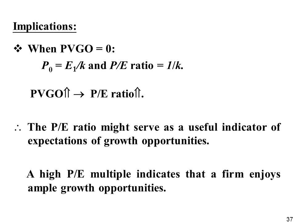 Implications: When PVGO = 0: P0 = E1/k and P/E ratio = 1/k. PVGO  P/E ratio.