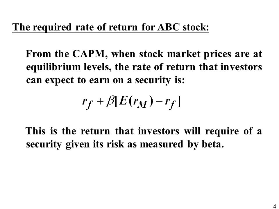 The required rate of return for ABC stock: