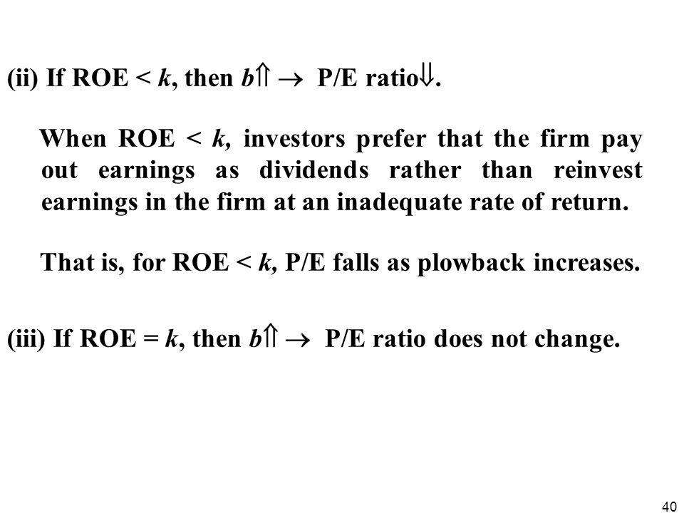 (ii) If ROE < k, then b  P/E ratio.