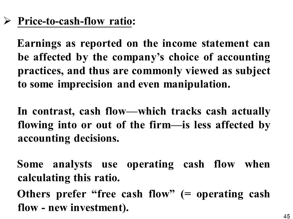 Price-to-cash-flow ratio: