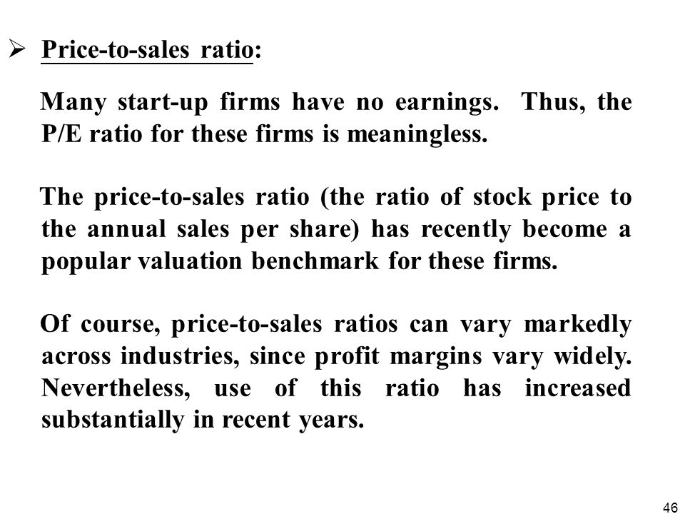 Price-to-sales ratio: