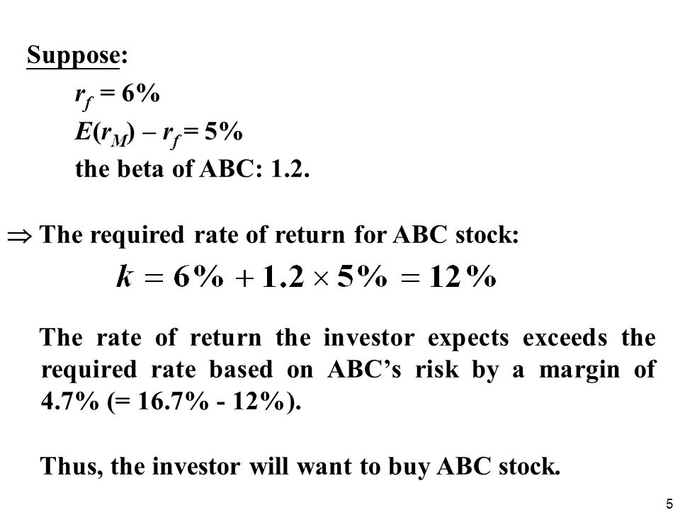 Suppose: rf = 6% E(rM) – rf = 5% the beta of ABC: 1.2.  The required rate of return for ABC stock: