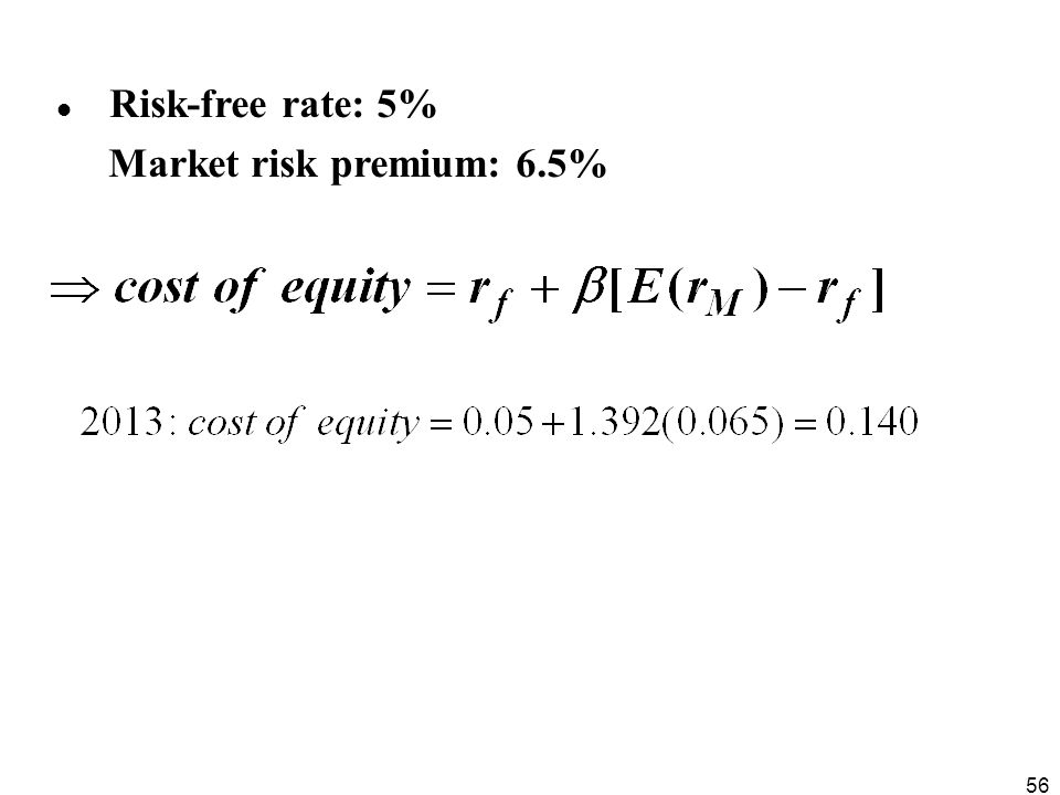 Risk-free rate: 5% Market risk premium: 6.5%