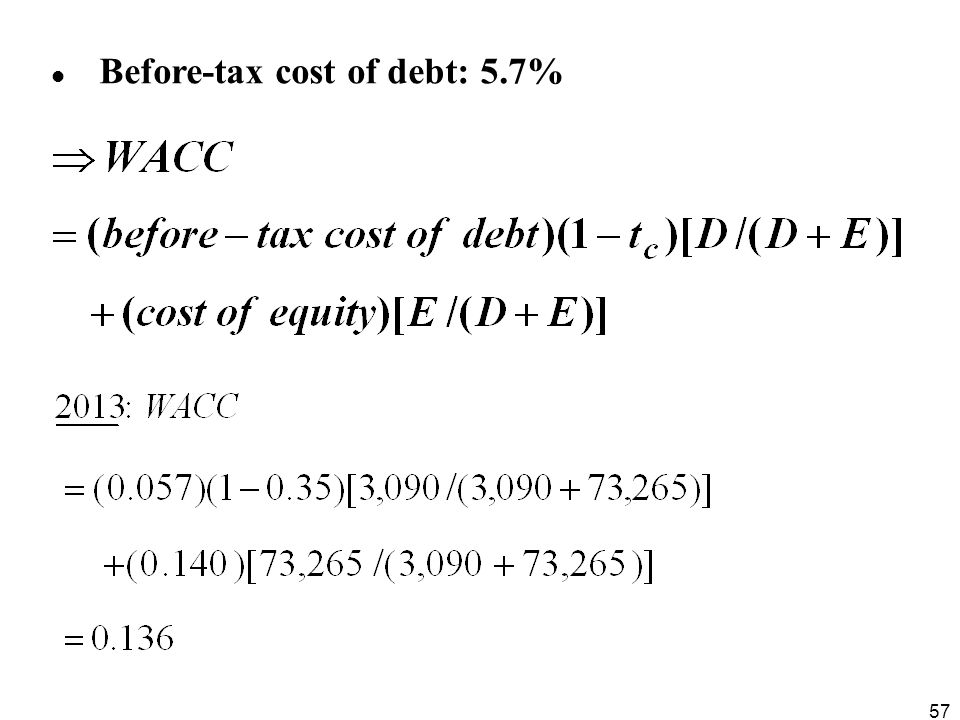 Before-tax cost of debt: 5.7%