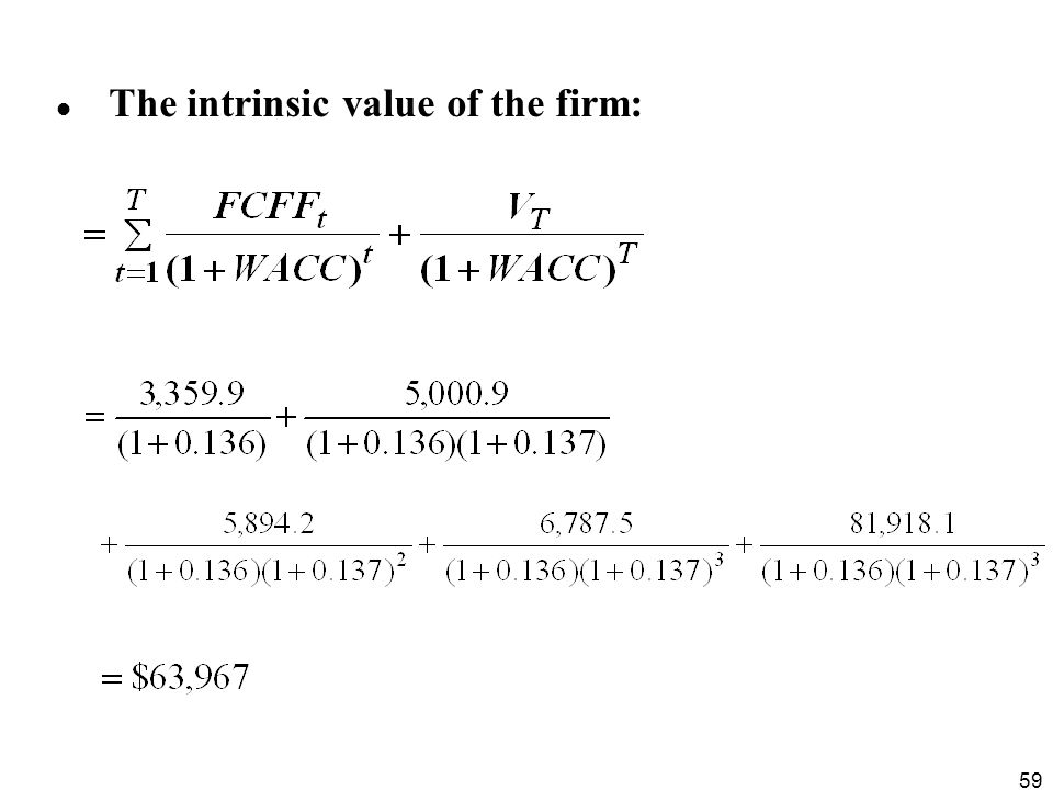 The intrinsic value of the firm: