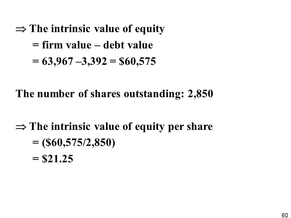  The intrinsic value of equity