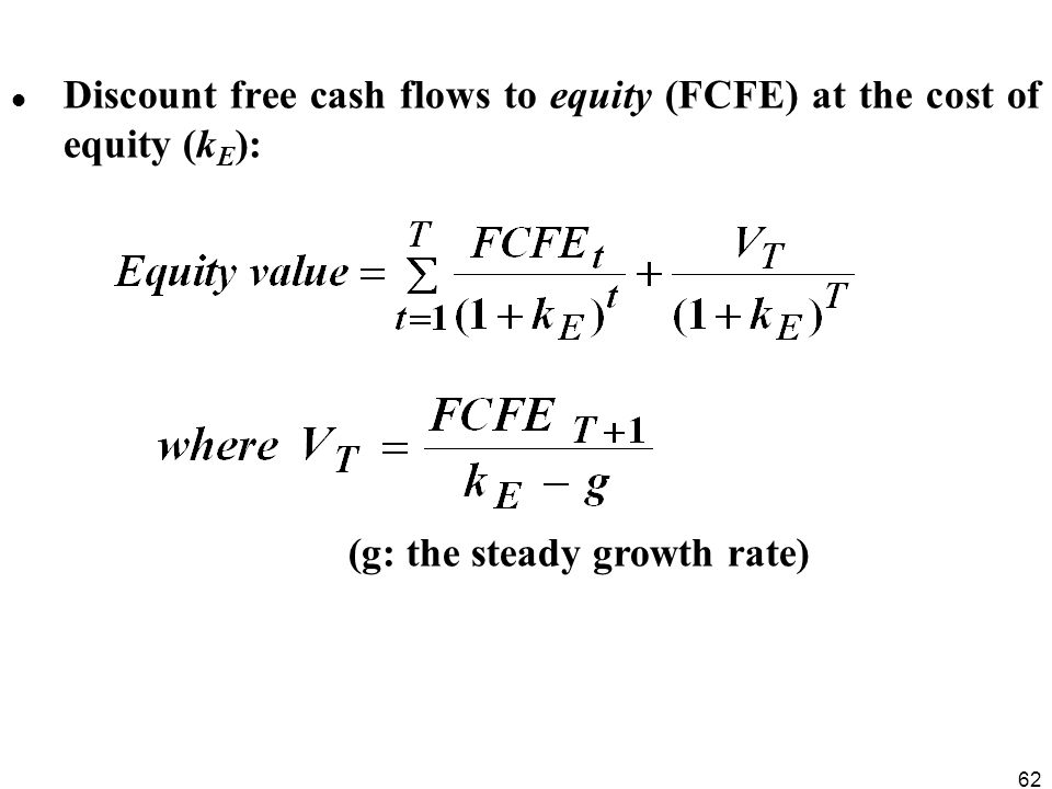 Discount free cash flows to equity (FCFE) at the cost of equity (kE):