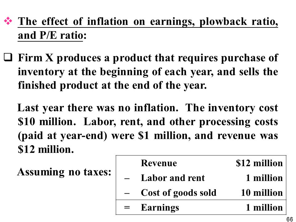 The effect of inflation on earnings, plowback ratio, and P/E ratio:
