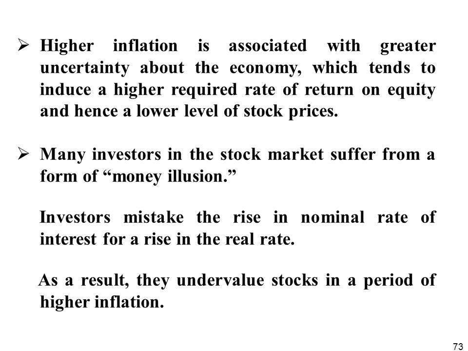 Higher inflation is associated with greater uncertainty about the economy, which tends to induce a higher required rate of return on equity and hence a lower level of stock prices.