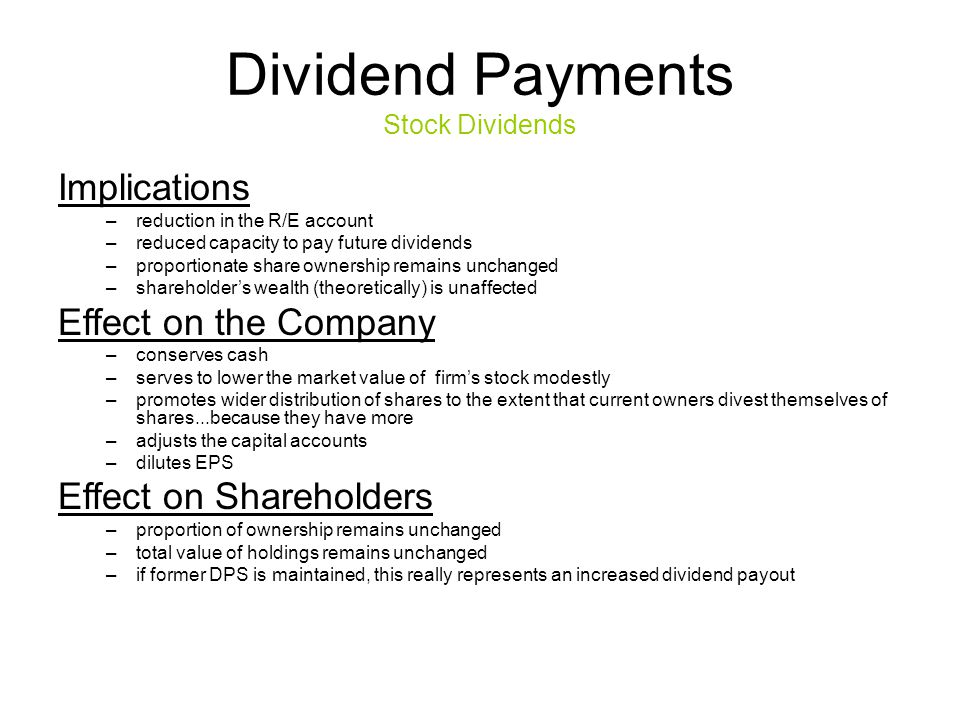 Dividend Payments Stock Dividends