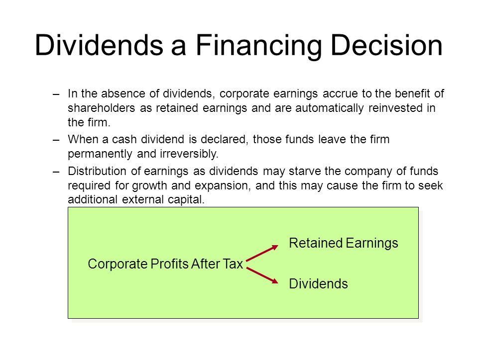 Dividends a Financing Decision
