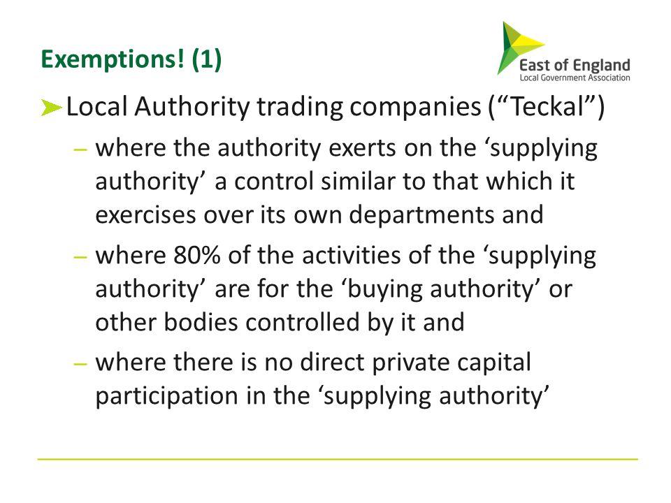 Local Authority trading companies ( Teckal )