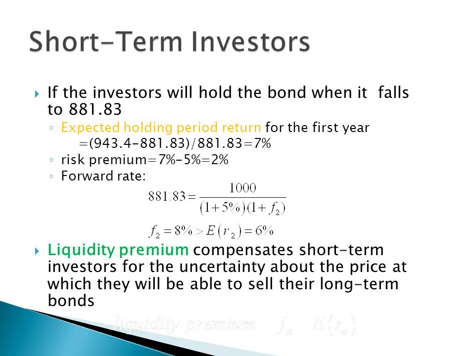 Short-Term Investors If the investors will hold the bond when it falls to 881.83. Expected holding period return for the first year.