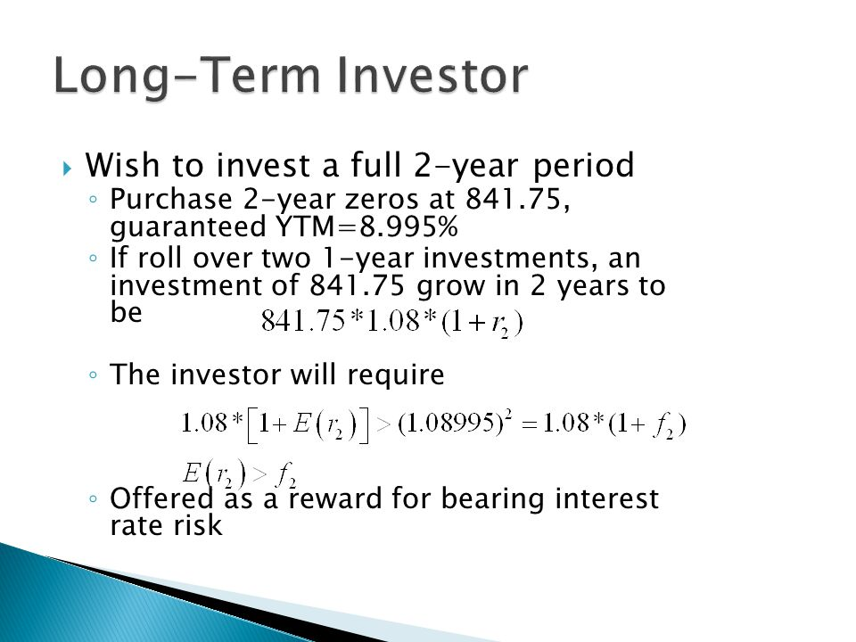Long-Term Investor Wish to invest a full 2-year period