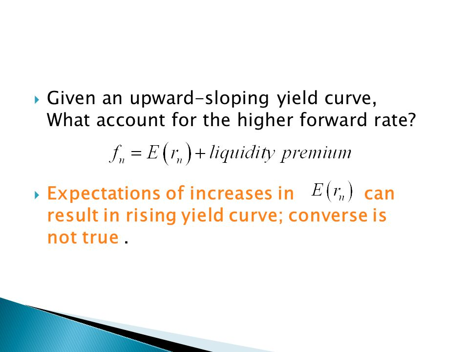 Given an upward-sloping yield curve, What account for the higher forward rate