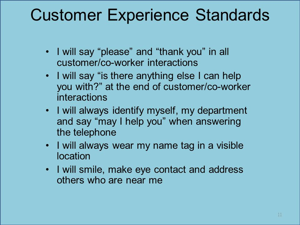 Customer Experience Standards