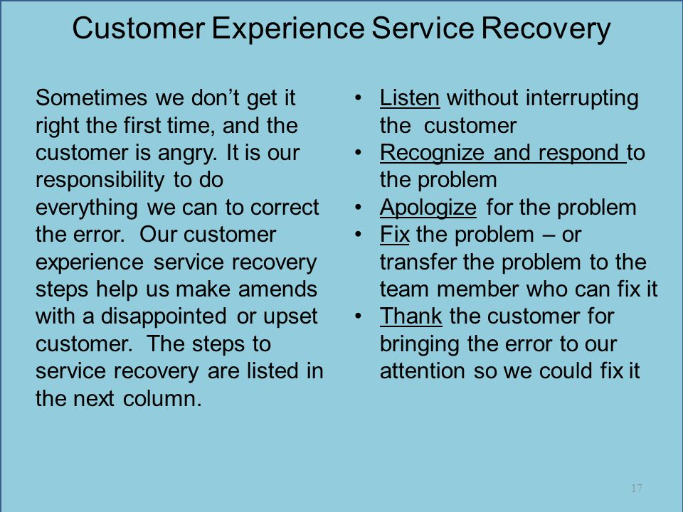 Customer Experience Service Recovery