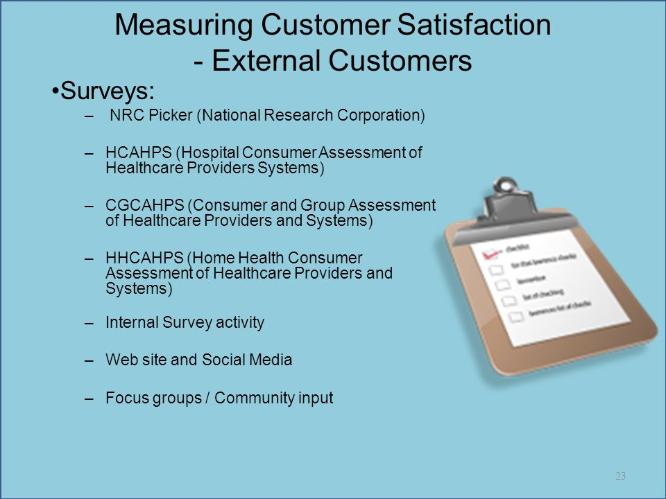 Measuring Customer Satisfaction - External Customers