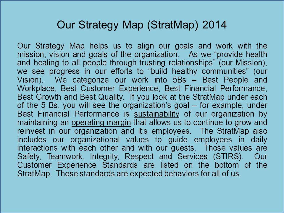Our Strategy Map (StratMap) 2014