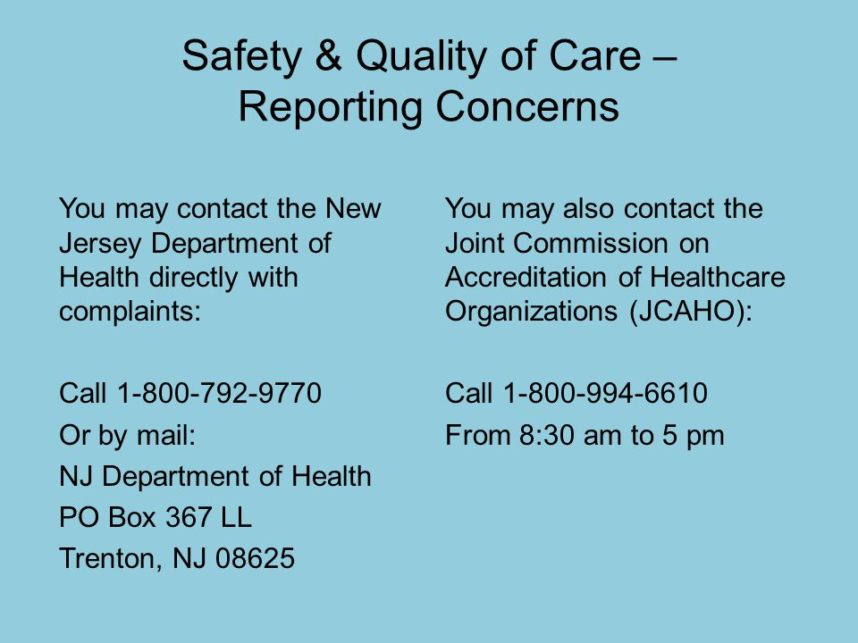 Safety & Quality of Care – Reporting Concerns
