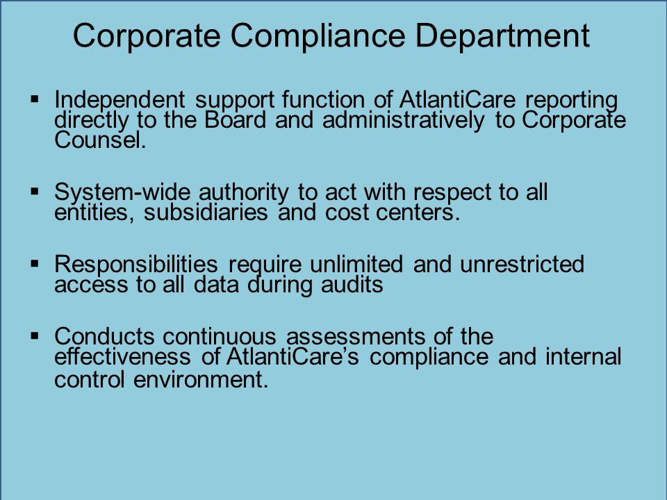 Corporate Compliance Department