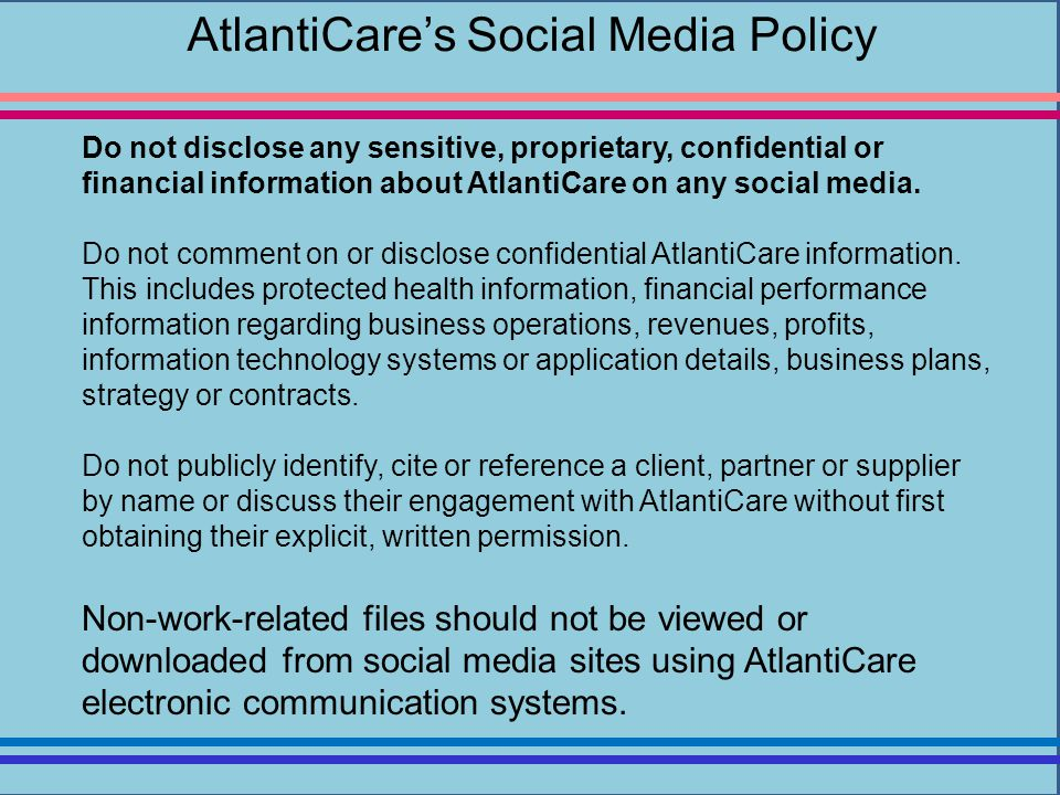 AtlantiCare's Social Media Policy