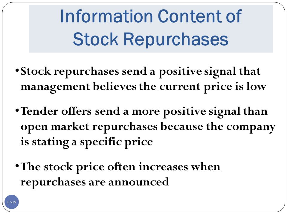 Information Content of Stock Repurchases