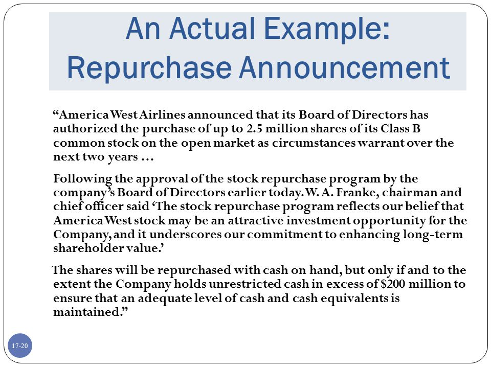 An Actual Example: Repurchase Announcement